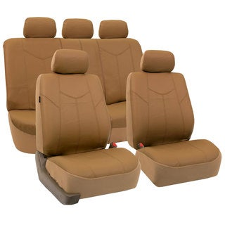 FH Group Beige Airbag-compatible PU Leather Seat Covers (Full Set)