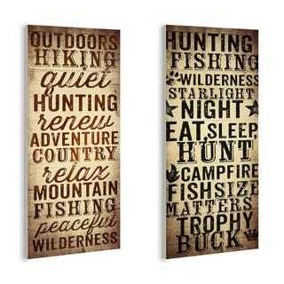 Outdoors and Hunting Typography Plaque (Set of 2)