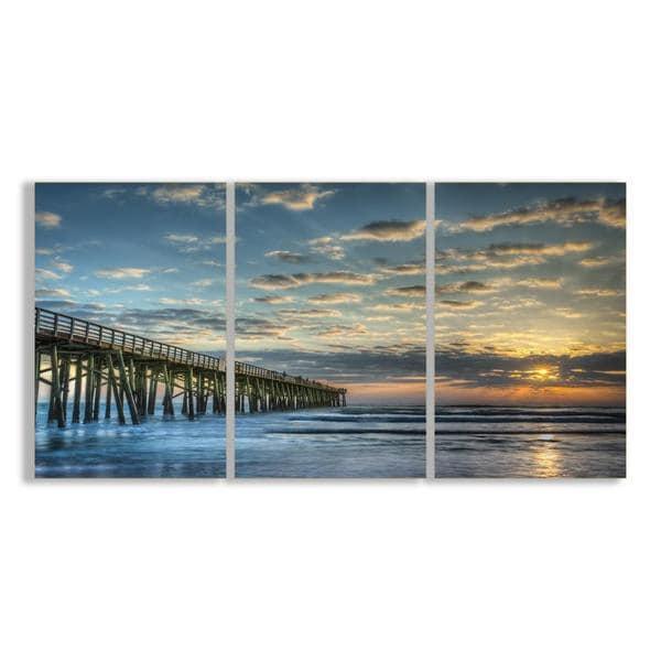 Docking At Sundown Beach Summer 33X17 Triptych Art