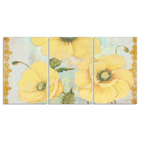 Yellow Poppies on Aqua Triptych Art