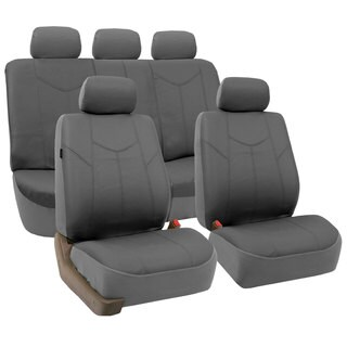 FH Group Grey Airbag-compatible PU Leather Seat Covers (Full Set)