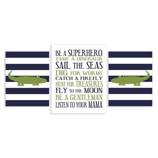 Little Boys Be a Superhero with Alligators Wall Plaques (Set of 3)