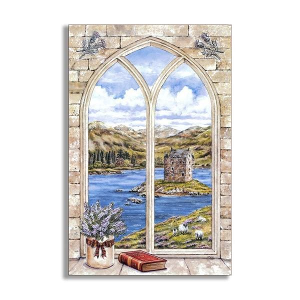 Arch Window and Book Faux Window Scene