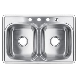 32-Inch Double Bowl Stainless Steel Top-mount Kitchen Sink