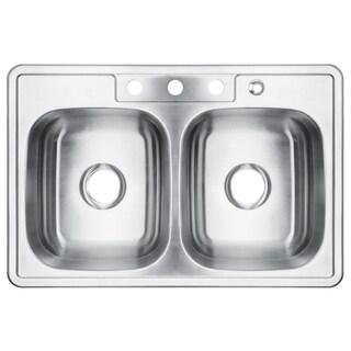 32-Inch Double Bowl Stainless Steel Topmount Kitchen Sink