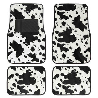 BDK Animal Print Cow Universal Carpet Floor Mats 4-Piece