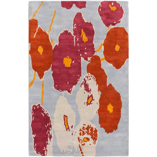 Luna Dark Orange Pale Blue Flowers Rug (5'0 x 8'0)