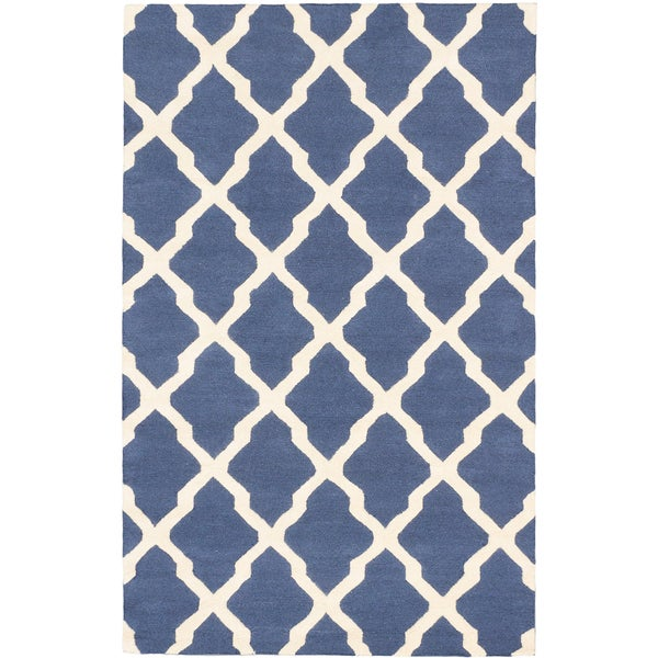 Marrakech Cream Dark Night Blue Open Field Rug (5'0 x 8'0)