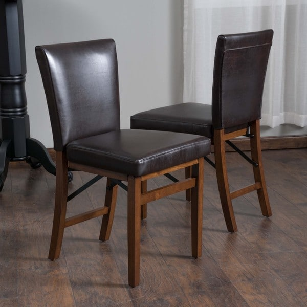 Christopher Knight Home Lane Bonded Leather Folding Dining Chair Set of 2