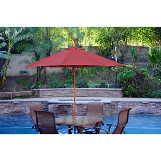 Jeco 9-foot Wood Market Patio Umbrella