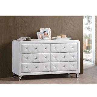 Baxton Studio Luminescence Wood Contemporary Upholstered Dresser