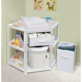 White Diaper Corner Baby Changing Table