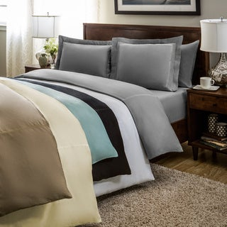 Verona Embroidered Braid Solid 3-piece Duvet Cover Set