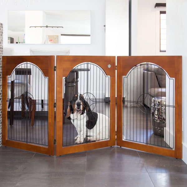 Majestic Pet 3 Panel Solid Wood Wire Free Standing Pet Gate
