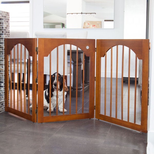 Majestic Pet 3-panel Free-standing Cherry Wood Pet Gate