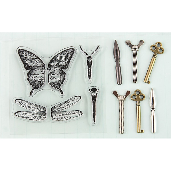 Stamp-N-Add Stamp & Metal Embellishment Set-Butterfly Wings