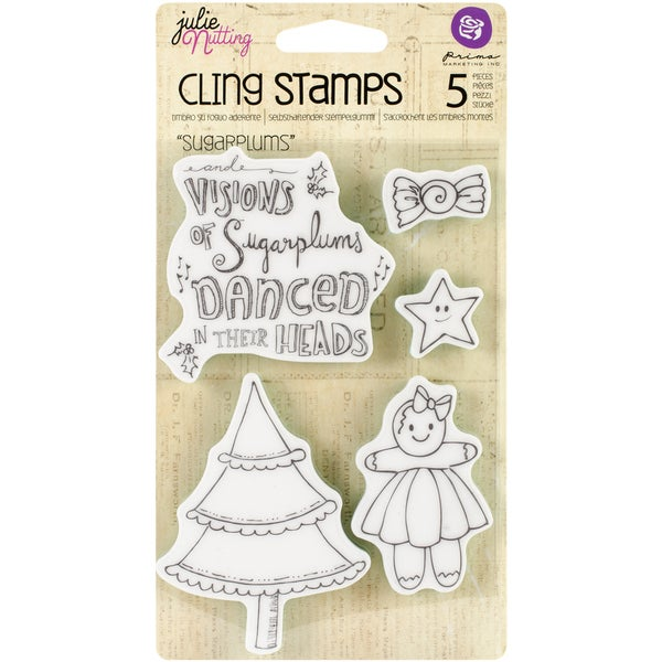 "Julie Nutting Mixed Media Cling Rubber Stamps 4""X6""-Sugar Plums"
