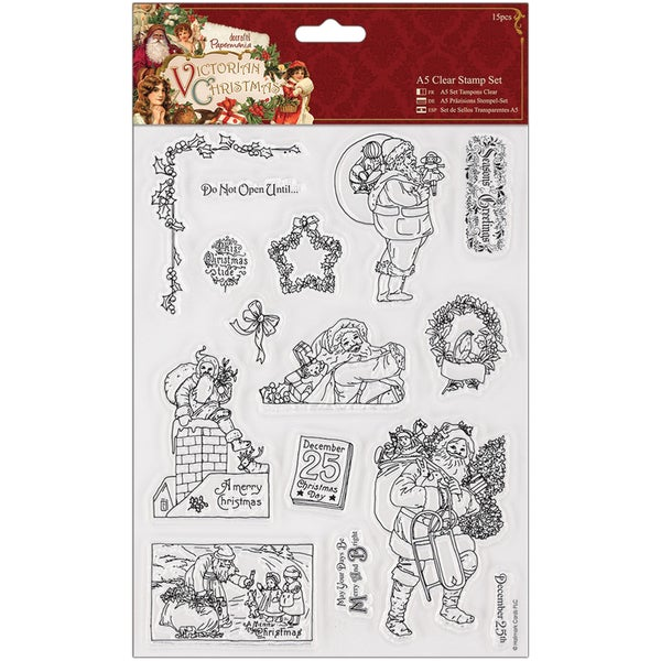 Papermania Victorian Christmas Clear Stamps-Santa
