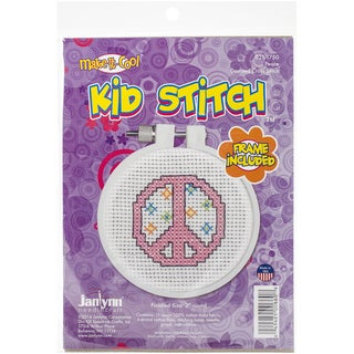 "Kid Stitch Peace Mini Counted Cross Stitch Kit-3"" Round 11 Count"