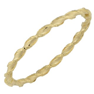 Fremada 18k Yellow Gold Diamond-cut and Satin Finish Twist Bangle