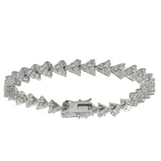 Sterling Silver Cubic Zirconia Cluster Triangle Tennis Bracelet