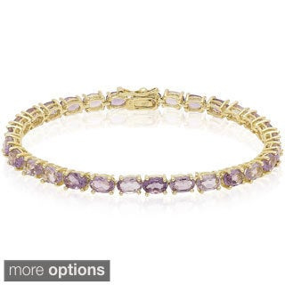 Dolce Giavonna Sterling Silver Gemstone Tennis Style Bracelet
