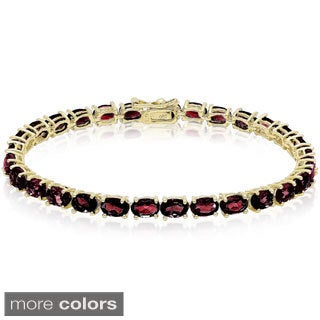 Dolce Giavonna Sterling Silver Oval Gemstone Tennis Style Bracelet