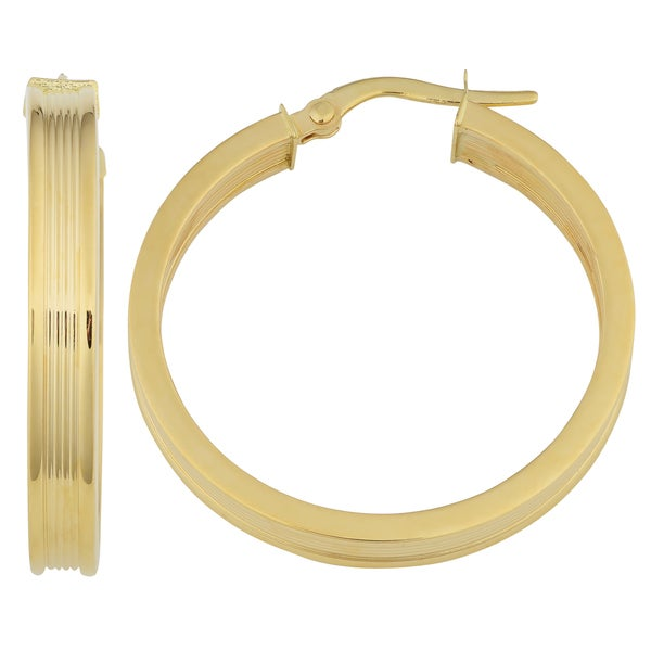 Fremada 18K Yellow Gold 25mm Ribbed Twist Hoop Earrings