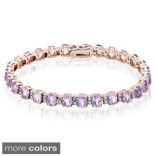 Dolce Giavonna Sterling Silver Multi-gemstone Diamond Accent Bracelet