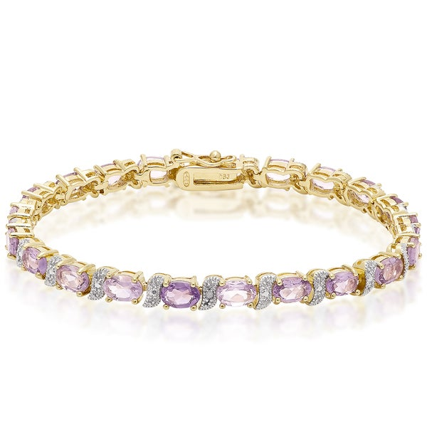 Dolce Giavonna Gold over Sterling Silver Diamond Accent and Gemstone Bracelet