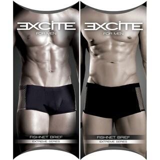 Fantasy Lingerie Excite for Men Black Boxer Briefs with Fishnet Side Detail (2-pack)