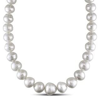 Miadora Signature Collection 14k White Gold South Sea Pearl and Diamond Accent Necklace (15-19 mm)