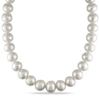 Miadora Signature Collection 14k White Gold South Sea Pearl and Diamond Accent Necklace (15-18 mm)