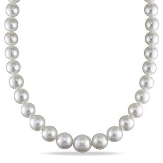 Miadora Signature Collection 14k White Gold South Sea Pearl and Diamond Accent Necklace (11-15 mm)
