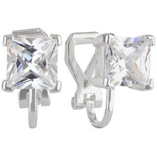 Sunstone Sterling Silver Princess-cut Cubic Zirconia Clip-on Earrings with Gift Box