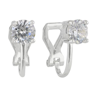 Sunstone Sterling Silver Round-cut Cubic Zirconia Clip-on Earrings in Gift Box