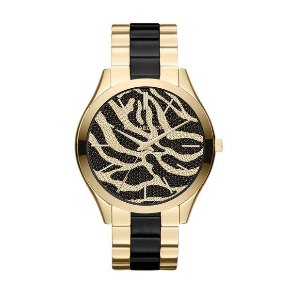Michael Kors Women's MK3315 Slim Runway Goldtone Zebra Dial Watch