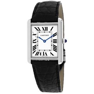 Cartier Men's W5200003 Tank Solo Square Black Strap Watch