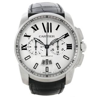 Cartier Men's W7100046 Calibre de Cartier Round Black Strap Watch