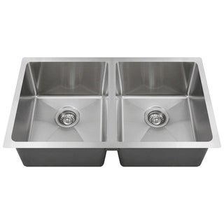MR Direct 3120D Undermount Double Bowl 0.75-inch Radius Kitchen Sink