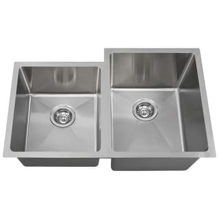 MR Direct 3120 Undermount Offset Double Bowl 0.75-inch Radius Stainless Steel Sink