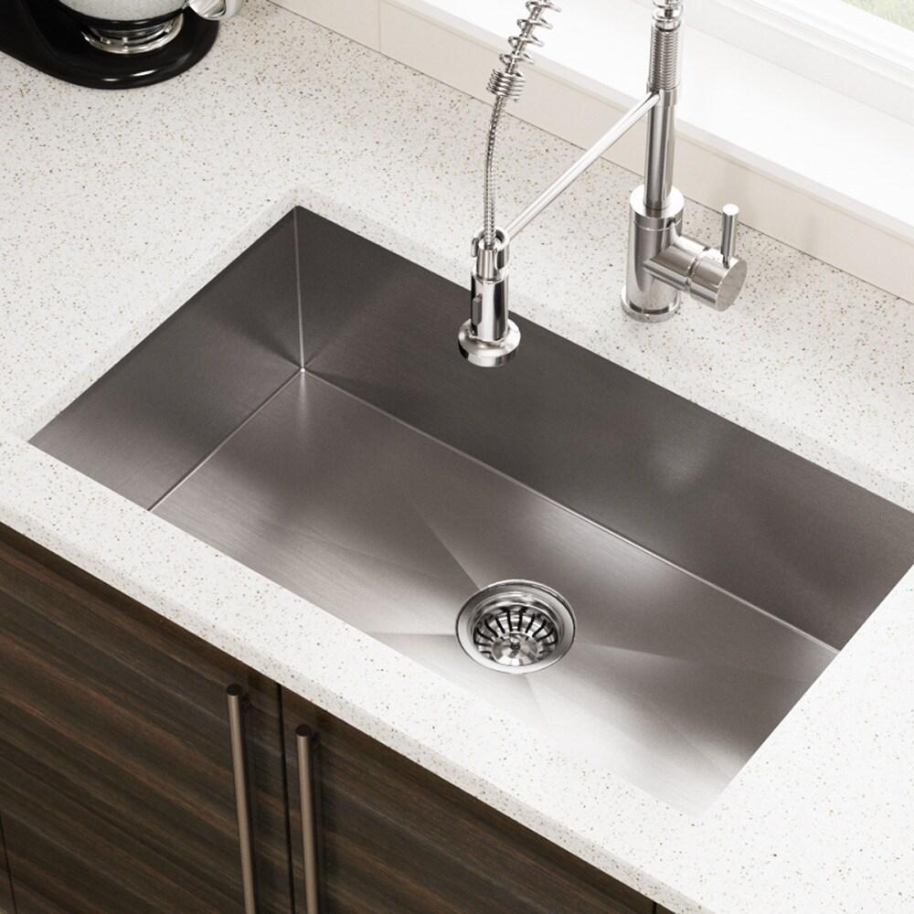 MR Direct 3322S 90-degree Single Bowl Rectangular Stainless Steel Sink