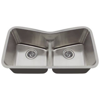 MR Direct 533 Low Divide Angled Bowl Stainless Steel Kitchen Sink