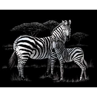 """Silver Foil Engraving Art Kit 8""""X10""""-Zebras"""