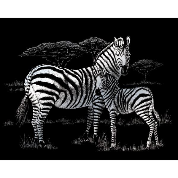 Elephant Herd Royal Brush Silver Foil Engraving Art Kit 8-Inch by 10-Inch