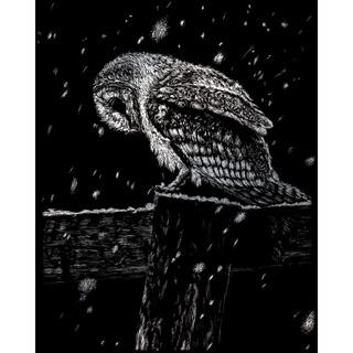 """Silver Foil Engraving Art Kit 8""""X10""""-Snowfall At Night"""