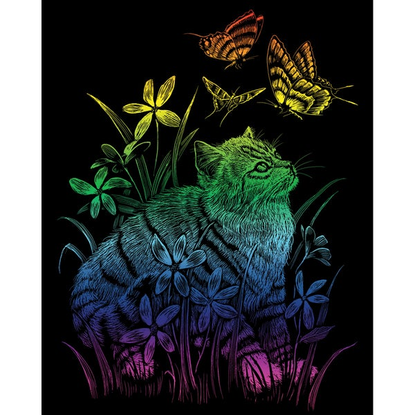 "Rainbow Foil Engraving Art Kit 8""X10""-Kitten & Butterflies"