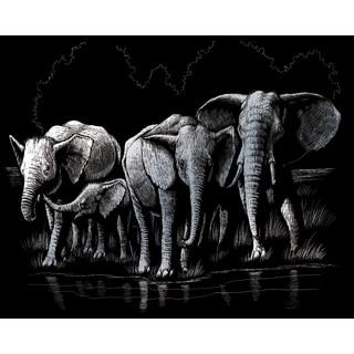 """Silver Foil Engraving Art Kit 8""""X10""""-Elephant Herd"""