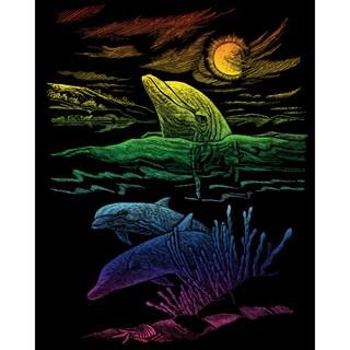 "Rainbow Foil Engraving Art Kit 8""X10""-Dolphin Reef"