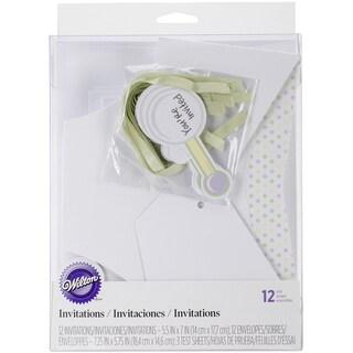 Baby Shower Invitations/Envelopes 12/Pkg-Diaper Shape
